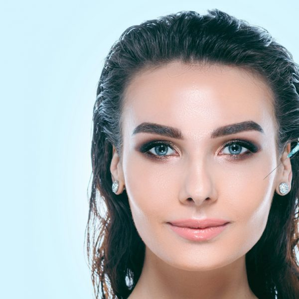 injections, cosmetology, beautiful female face with perfect skin